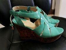 Joan & David Wedge Platform Shoes Sandals Turquoise Daisleen size 10M