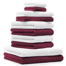 """Juego de toalla """"PREMIUM"""" de diez piezas, color: rojo oscuro y blanco, calidad 4"""