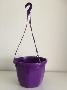 """NEW PURPLE PLASTIC HEAVY DUTY 10"""" HANGING BASKET PLANTERS COMPLETE WITH HANGER"""