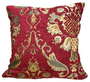 Wd26Aa Gold on Red Damask Chenille Flora Throw Cushion Cover/Pillow Case *Size