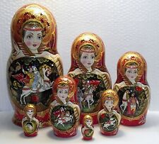 """7 dolls, Russian Matryoshka , by the author, height 9,4 """" (24 см)"""