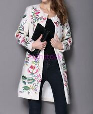Elegant Ladies Wool blend Floral Embroidered Trench Coat Outwear Long Jackets UK