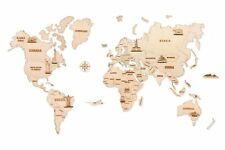 Wood Trick 3D World Map L Rustic Wall Interior Home Decor Puzzle Travel Gift