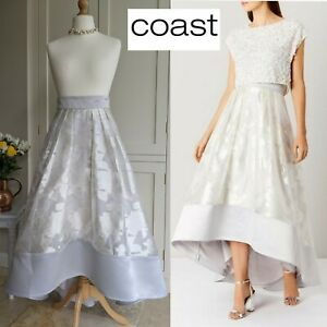 COAST RHIAN SILVER SHIMMER FLARED HI LO BRIDAL PARTY SKIRT NEW WITH TAGS UK 10