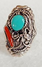 VINTAGE Sterling Silver 92.5 Ring with Turquoise and Coral  Size 11