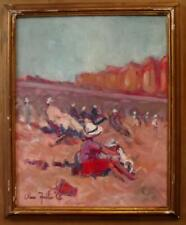 THE BEACH Indistinctly Signed BRITISH MODERNIST Impressionist Oil Painting 1970s