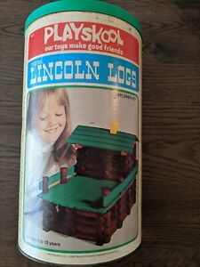 Vintage playskool lincoln logs 1974 Explorer Set 128 Pieces with box
