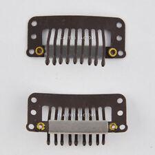 Extensions de cheveux à clips brun pour femme