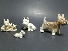 Vintage Lot 4 Yorkshire Scottish Scotty Terrier Figurines One Japan Porcelain