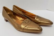 Salvatore Ferragamo Womens Low Heel Pump Goldish Bronze Leather Size 8 2A
