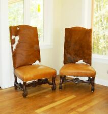 19th C Western Cowhide Leather Victorian William & Mary Carved Club Chairs