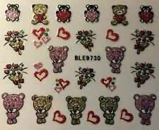 Nail Art 3D Decal Glitter Stickers Valentine's Day Teddy Bears Hearts BLE973D