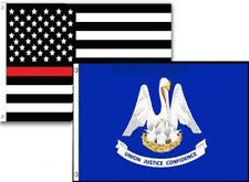 2x3 Usa Fire Thin Red Line Louisiana State 2 Pack Flag Wholesale Set Combo 2'x3'