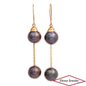 Estate Tahitian Pearl 18K Gold Dangle Drop Hook Earrings 6.3 Grams NR