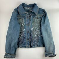 Mango Womens Jean Jacket Blue Buttons Stretch Embellished Collar Long Sleeves L