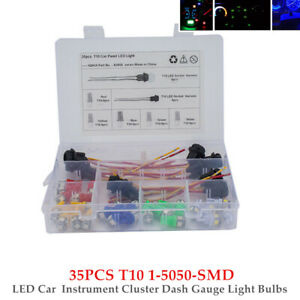 35PCS T10 1-5050-SMD LED Car Truck RV Instrument Cluster Dash Gauge Light Bulbs