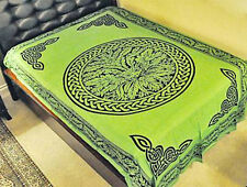 Celtic Knot Green Man Tapestry-Green Wall Hanging-Lt Bedspread-Throw-72 x108
