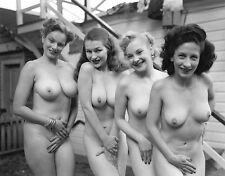 1950s 4 Nude busty pinups Posing together at bath house  8 x 10 Photograph