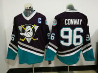 Purple Mighty Ducks Ice Hockry Jerseys #96 Charlie Conway All Stitched