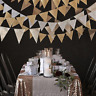Gold Silver Triangle Flag Pennant String Banner Festival Party Holiday Decor