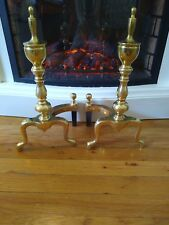 Pair Vintage Brass Fireplace Andirons