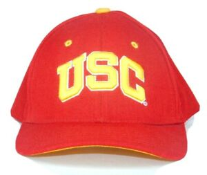 USC Trojans Mens Red Fitted Hat Embroidered Logo On Front/Back Sz 7 7/8