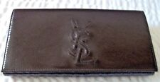 Yves Saint Laurent Belle De Jour Dark Brown Patent Leather Wallet