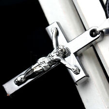 Pendentif Collier Croix Jesus Christ Argent Homme + Chaine offerte HG