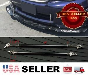 """Black 5.5""""-8.5"""" extension Rod Bumper Lip Diffuser splitter for Subaru Mazda"""