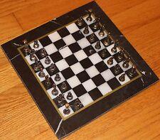 "10""x10"" Black/White Marble Board & Miniature Metal Ancient Roman Piece Chess Set"