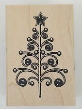 Rubber Stamp Swirl Christmas Tree Inkadinkado Modern Holiday Wood Mounted New