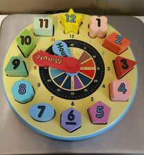 Melissa and Doug Shape Sorting Clock Wooden Educational Toy Teaches Time Numbers