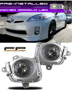 WICKED LED + 2010 2011 Toyota Prius Fog Lights Clear Driving Lamps COMPLETE KIT