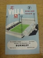 17/11/1962 Aston Villa v Burnley  (Light Fold). Thanks for viewing this item, we