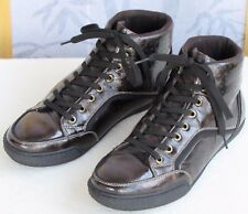9 | GBX Men Brown Crinkle Patent Leather High Top Fashion Sneaker Shoe
