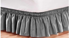"""Cannon Brand Solid Gray Colored Adjustable Bedskirt 156 """" x 15"""" Queen/King"""