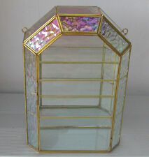 Glass & Brass Display Curio Cabinet Box with Pearl Trim for Miniatures, Dragons