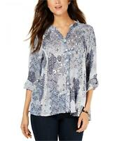 NWT Style & Co Womens Printed High-Low Button-Up Top Blouse. 100047435MS