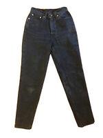 Vintage Levis 512 Slim Tapered Leg 80s 90S Mom Jeans 7 Med 25 Dark Blue Black