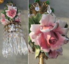 Porcelain ROSE pink Chandelier SWAG lamp Capodimonte Brass Vintage emerald old