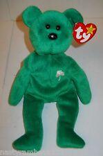 "TY BEANIE BABY 9"" GREEN PLUSH ""ERIN"" BEAR, TAG ERRORS, 1997, NEW W/TAGS!"