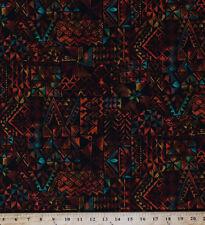 Cotton Coral Reef Tropics Aztec Mayan Batik-look Screen Print Fabric BTY D572.06
