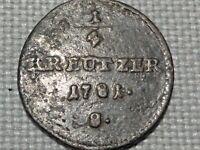 Holy Roman Empire Austria Copper 1/4 Kreuzer 1781 Schmollnitz Emperor Joseph II
