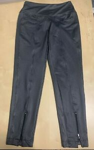 NWT Lucky In Love Ladies Small Pull On Black Check Ankle Zip Pants NEW GP1Q