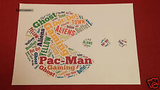 PERSONALISED PACMAN A4 WORD ART PRINT DAD FATHERS DAY 80S GIFT RETR0 GAMES