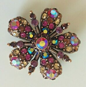 Joan Rivers Woman's Floral Brooch Pin Copper Pink Tone Embellishment