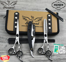 New Professional Barber Hairdressing Scissors Set Silver Edition Razor Kit 6.5""
