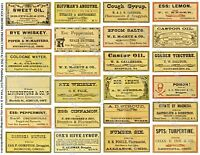 Druggist Apothecary Labels, Antique Pharmacy Art Reproductions, 2 Sticker Sheets