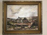 Vintage gilt framed signed original oil painting Barbara C Shaw Yorkshire Farm