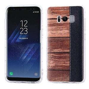 For Samsung Galaxy S8+ PLUS Wood Grain Candy Thin Soft Black Gel Rubber Case